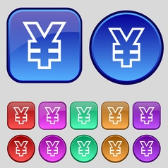 Yen JPY icon sign A set of twelve vintage buttons vector