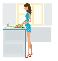 young woman cooking dinner vector image