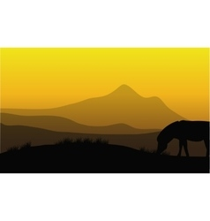 Zebra silhouette with mountain backgrounds vector image