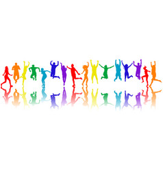 colorful people silhouettes jumping vector image