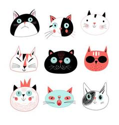 Graphic seamless portraits of cats vector image vector image