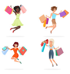 happy women jump with shopping bags young girls vector image vector image