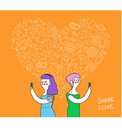 Online love lesbian couple with internet icons vector