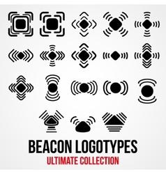Set of black bluetooth GPS beacon icons vector image