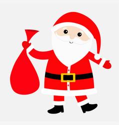 santa claus carrying sack gift bag red hat vector image
