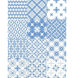 Set of seamless patterns in blue vector image vector image