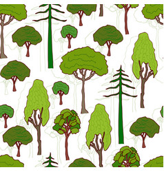 trees pattern seamless pattern of green trees vector image vector image