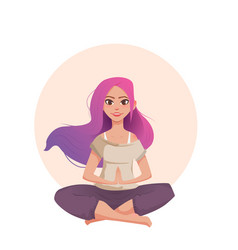 young woman with pink hair meditates in lotus vector image vector image