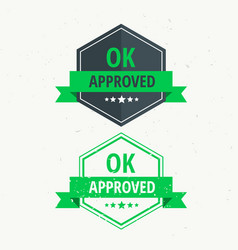 approved rubber stamp label badge design in green vector image