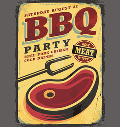 bbq party vintage metal sign vector image