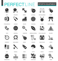 black classic sport equipment icons set for web vector image vector image