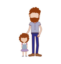 Father with his daughter and casual clothes vector