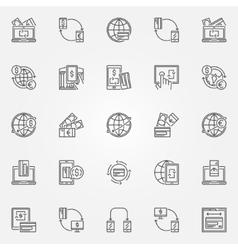 Money transfer icon set vector image