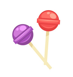 sweet tasty round lollipops on wooden sticks vector image vector image