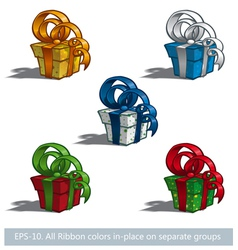 Five gift boxes vector