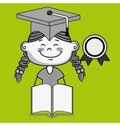 girl student book cap vector image vector image