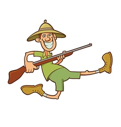 hunter with rifle vector image vector image