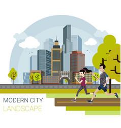 modern city cartoon style vector image