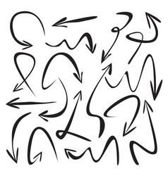 set of black drawing arrows vector image