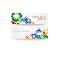 Technology Colorful Gears Banner vector image vector image