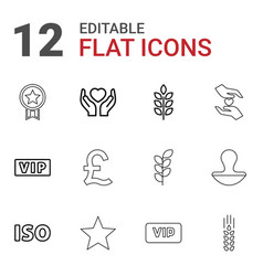 12 quality icons vector