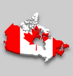 3d isometric map canada with national flag vector image