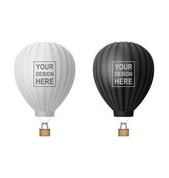 3d realistic hot air balloon icon set vector image