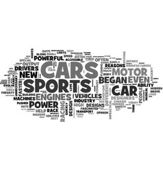 A history of sports cars text word cloud concept vector