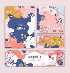 Abstract retro style shape cover design set vector