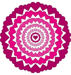 Adult coloring book loving mandala pink hearts vector