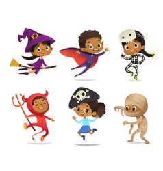 african-american set boys and girls wearing vector image