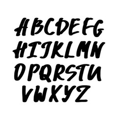 alphabet letters black handwritten font drawn vector image