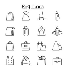 bag icons set in thin line style vector image