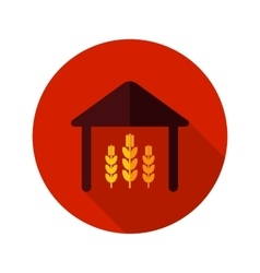 Barn flat icon with long shadow vector image