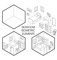 bedroom interior creator isometric thin vector image