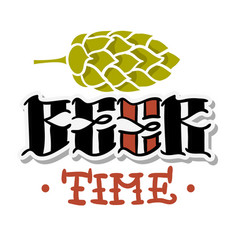 beer time hand drawn design with a hop vector image