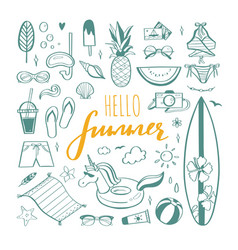 big set summer design doodle elements vector image