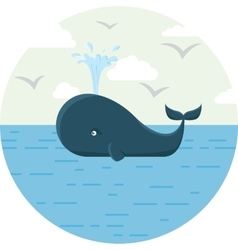 Blue whale with sea round vector