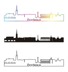 Bordeaux skyline linear style with rainbow vector