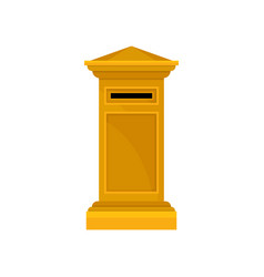 bright yellow pillar postbox large metal public vector image