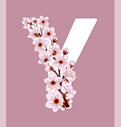 Capital letter y patterned with cherry blossom vector