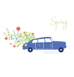 Car and flowers spring card vector image