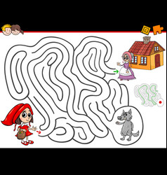 Cartoon maze activity with little red riding hood vector
