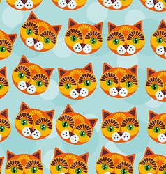 Cat Seamless pattern with funny cute animal face vector