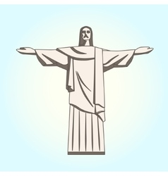 Christ the Redeemer Statue in Flat Style vector