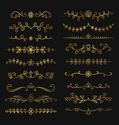 Collection golden flourish text dividers vector