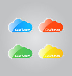 Colorful bright clouds icons on a gray background vector