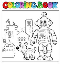 Coloring book robot theme 1 vector