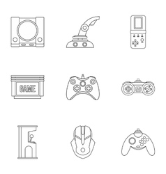 Computer games icons set outline style vector