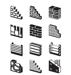 Construction materials for walls vector